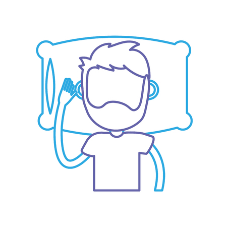 bedroom design: line man with hairstyle desing sleeping vector illustration