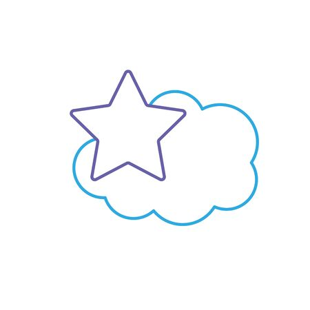 line cute cloud and star weather design icon vector illustration Illustration