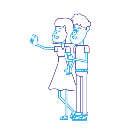 line beauty couple with hairstyle and smartphone in the hand vector illustration