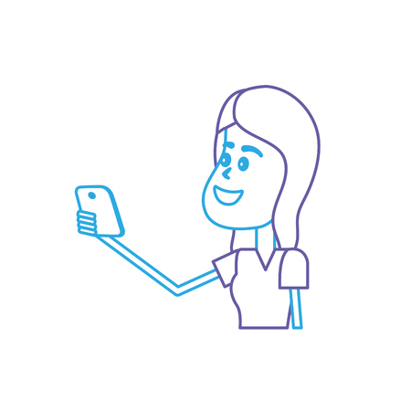 smartphone: line beauty woman with hairstyle and smartphone in the hand vector illustrtaion