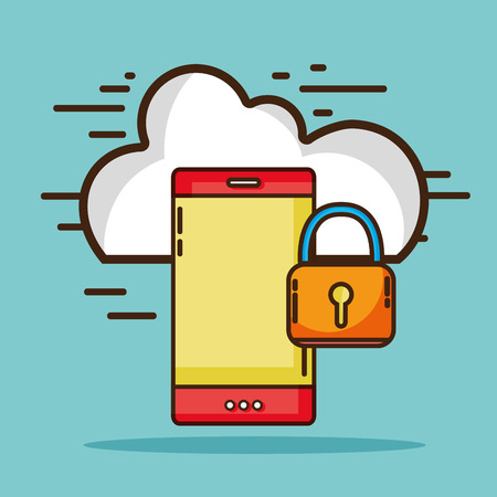 cloud: smartphone with cloud data and padlock security Illustration