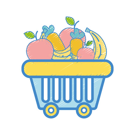 shopping basket with delicious fruits and vegetables