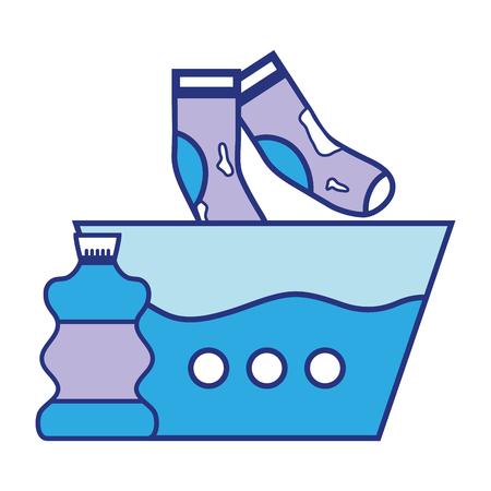 Water emmer en vuile sokken met bleekmiddel fles Stockfoto - 86097525