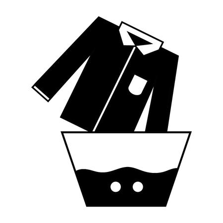 contour schone overhemd die in de emmer met water loopt