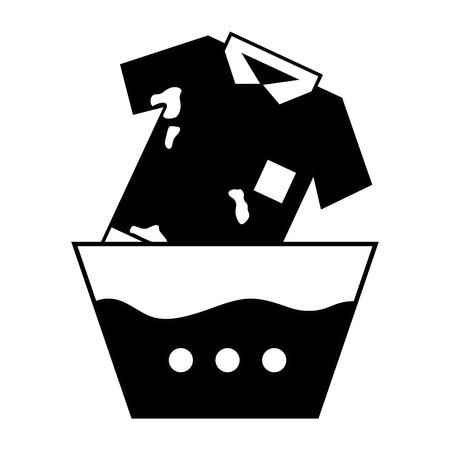 Contour vieze t-shirt die in de emmer met water loopt Stockfoto - 86097547