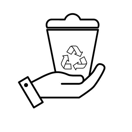 line hand with can recycle to environment care vector illustration