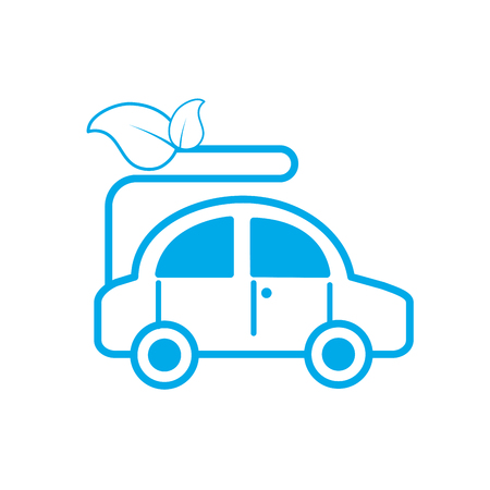 silhouette ecologycal car with leaves to environment care vector illustration Illustration