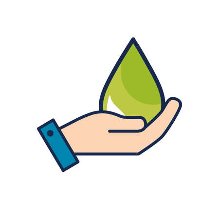 drop water: hand with ecological drop to environment care vector illustration