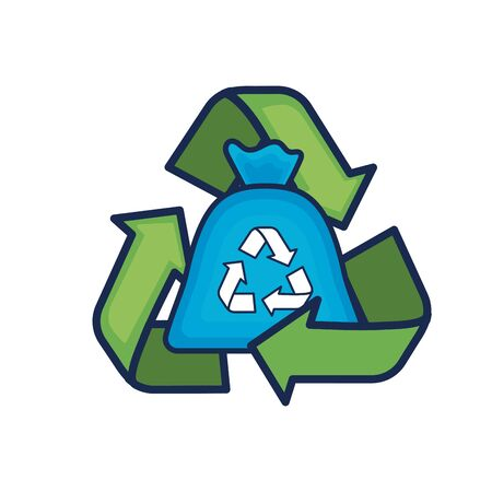 bag recycle with environment care symbol around vector illustration