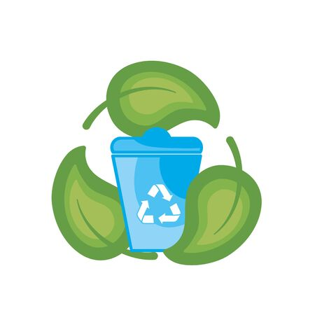 can recycle with natural leaves design vector illustration Illustration