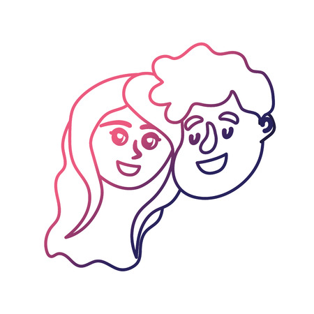 line happy couple face with hairstyle design vector illustration Illustration