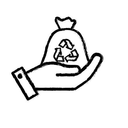 Figure main avec sac recyclage à l & # 39 ; environnement illustration vectorielle Banque d'images - 86098259