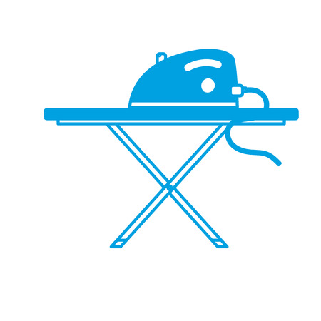 silhouette iron electrical object and ironing board vector illustration