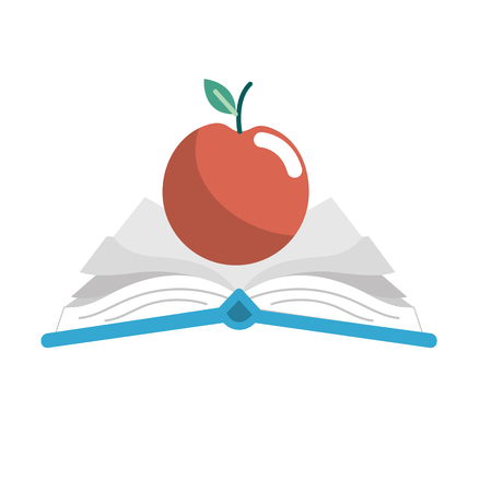 open notebook with papers and apple fruit
