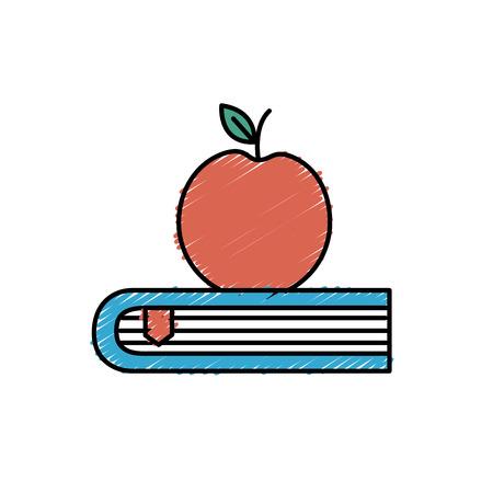 bibliography: apple fruit over close book vector illustration Illustration