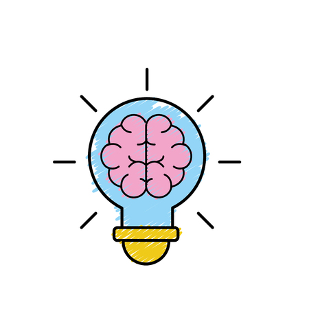 bulb with brain inside to creative design vector illustration Illustration