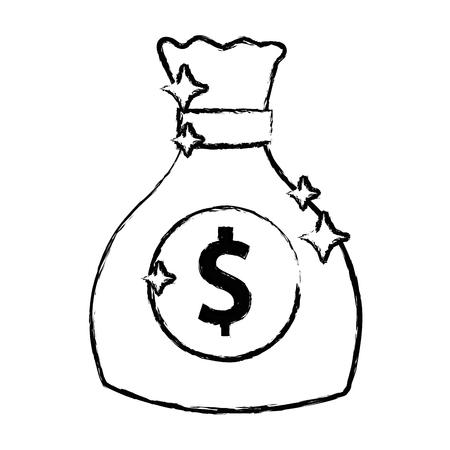 figure money bag with cash money icon Çizim
