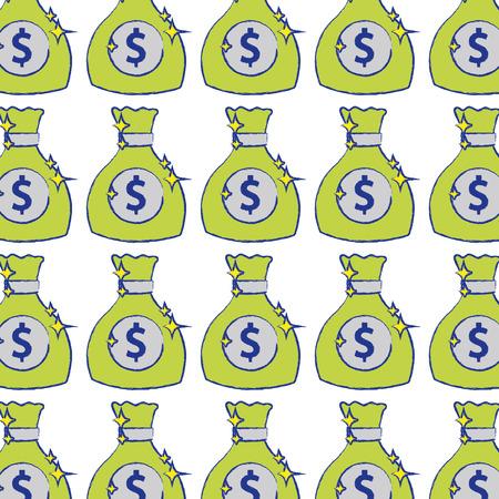 money bag with cash money icon background