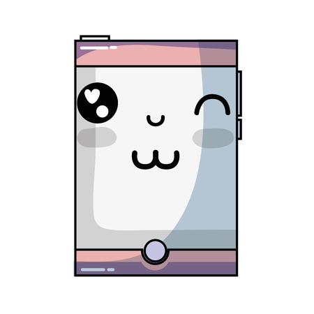 kawaii mignon drôle smartphone de la technologie illustration vectorielle