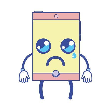 kawaii mignon pleurer smartphone technologie illustration vectorielle