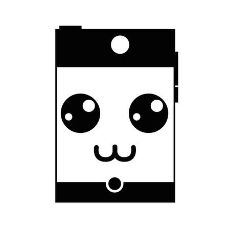 outline smartwatch kawaii mignon heureux smartphone vecteur illustration de la technologie Vecteurs