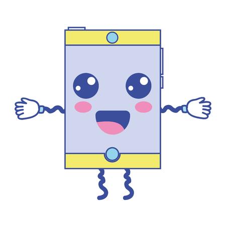kawaii mignon heureux smartphone technologie illustration vectorielle