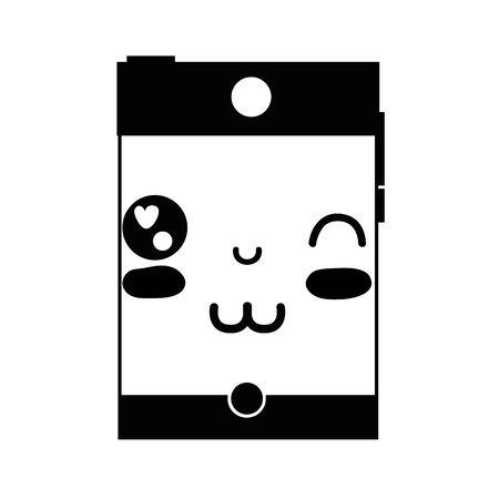 contour kawaii mignon drôle de la technologie smartphone illustration vectorielle Vecteurs