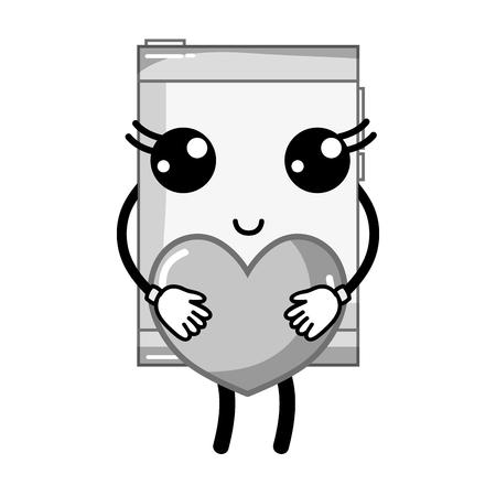 smartphone smartphone kawaii avec du coeur romantique dans les mains illustration vectorielle Vecteurs