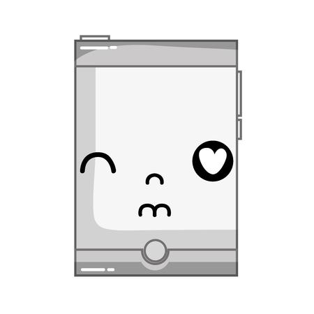 monsieur kawaii mignon dans l & # 39 ; amour smartphone illustration vectorielle de technologie
