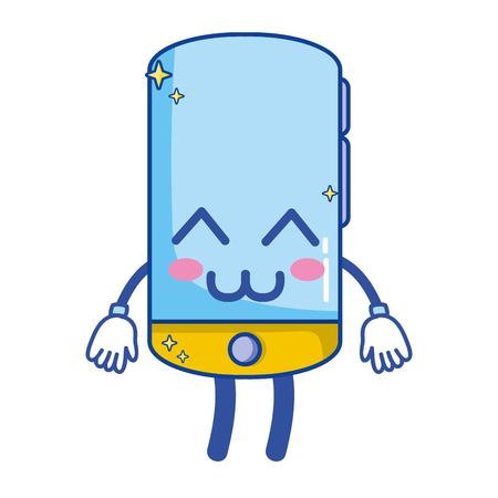 kawaii mignon heureux smartphone technologie illustration vectorielle Vecteurs