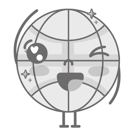 Grayscale kawaii cute funny global connect Foto de archivo - 86816066