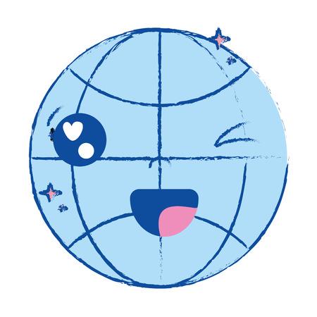 Kawaii cute funny global connect Foto de archivo - 86750278