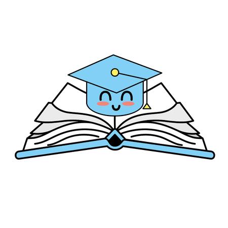 열린 책을 통해 귀여운 행복 한 모자 졸업