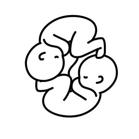line nice babies twins with umbilical cord vector illustration Vektorové ilustrace