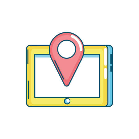 tablet technology with location map symbol vector illustration
