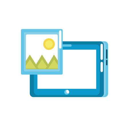 Tablet technology with picture icon vector illustration