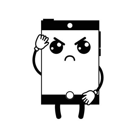 contour kawaii mignon en colère technologie smartphone