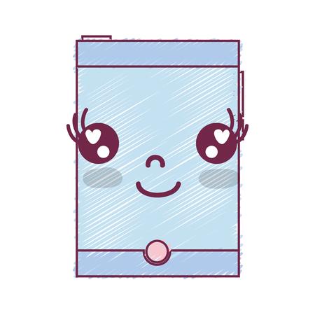 kawaii mignon heureux smartphone de technologie Vecteurs