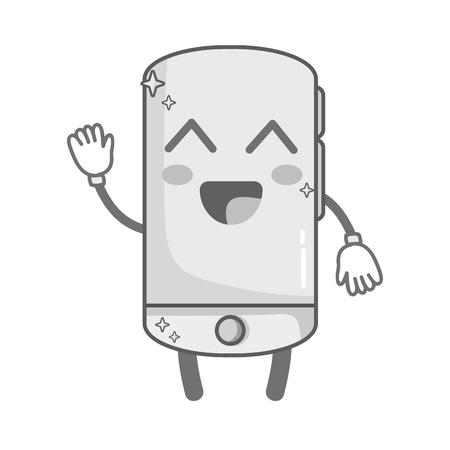 kawaii en niveaux de gris cute happy smartphone technology Vecteurs