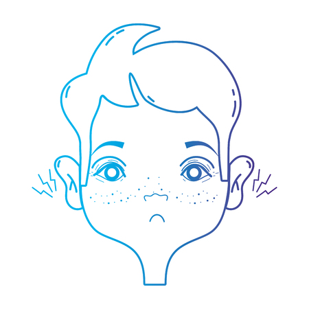 line man with otitis earache illness infection vector illustration Stock Vector - 87000920