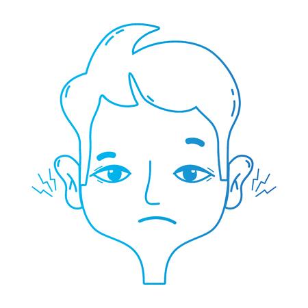 line man with otitis earache illness infection vector illustration Illustration