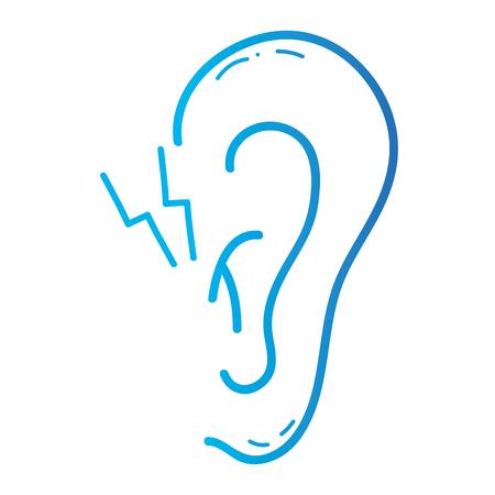 이염 병 감염 및 염증 벡터 일러스트와 함께 라인 귀