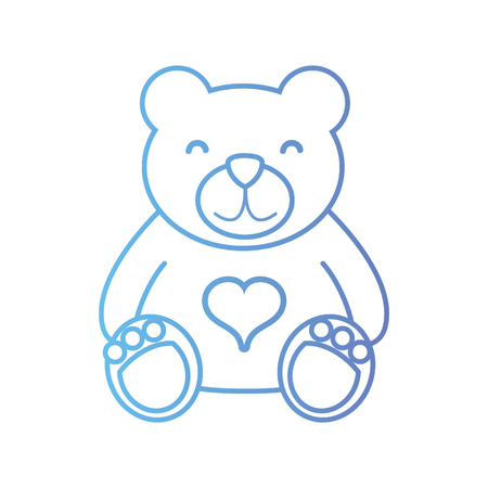 line nice teddy bear toy to game Illustration