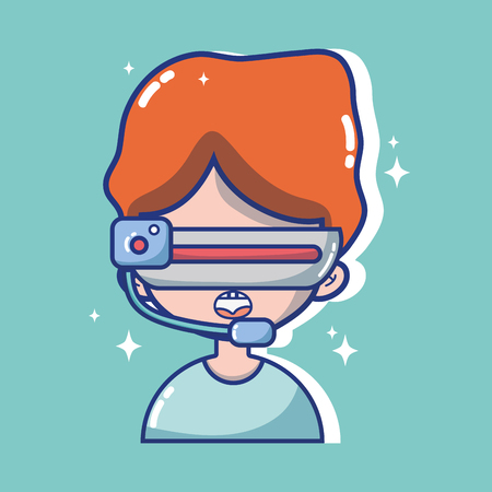 boy with 3d glasses technology to virtual reality vector illustration Illustration