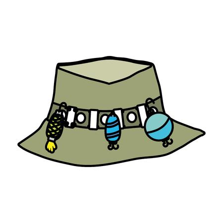 peasant: Fishing peasant hat object vector illustration