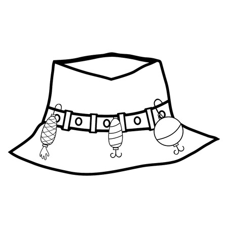 peasant: line fishing peasant hat object, to warker vector illustration