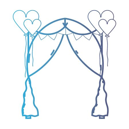 A line married decoration with heart balloons and veil vector illustration