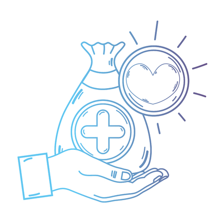line hand with bag donation with heart and cross symbol vector illustration