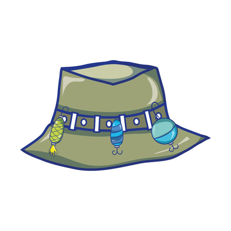 peasant: fishing peasant hat object, to warker vector illustration