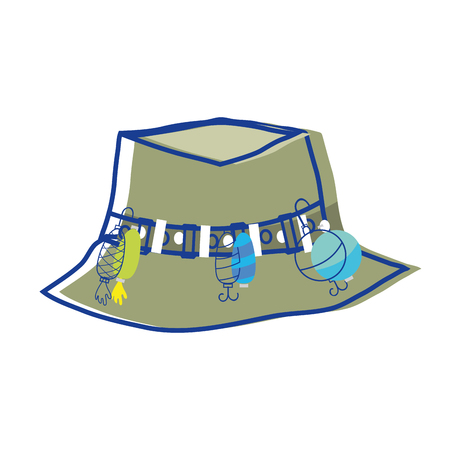 fishing peasant hat object, to warker vector illustration